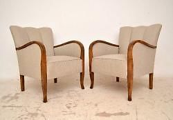 Pair of Swedish Art Deco Upholstered Armchairs with Satinbirch Frames
