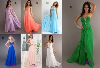 2013 New Long Chiffon Formal Prom Party Bridesmaid Evening Dresses Size 6 16