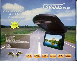 "Sumas Media 9"" Roof Mount Car DVD Player w IR Transmitter TFT LCD Color"