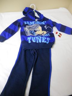 New Disney Mickey Mouse Hoodie Jacket Pant Outfit Sweatsuit Boy 3T