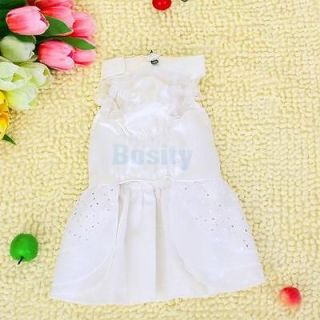 White Shiny Pet Dog Wedding Dress Apparel Clothes XS