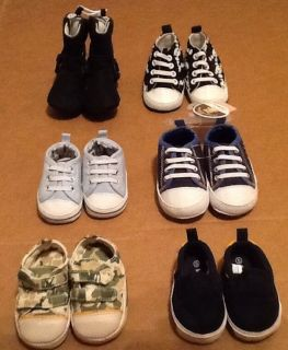 Infant Baby Boy Sneaker Shoes Lot of 6 Booties Size Newborn 3 6 Like New and New