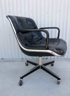 Mid Century Modern Pollock for Knoll Black Leather Chrome Swivel Office Chair
