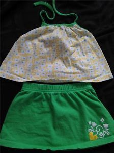 Baby Girl Clothes Wonder Kids Lime Green Flower Baby Girl Short Set 18 Months