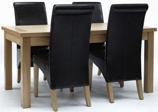 Compton Solid Oak Furniture Dining Room Table and Four Leather Seat Chairs Set