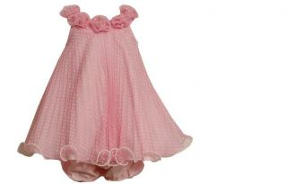 Bonnie Jean Baby Girls Pink Rose Mesh Flocked Spring Summer Dress 24M New