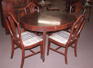 Antique Solid Crotch Mahogany Table 4 Shieldback Chairs Dining Room Set
