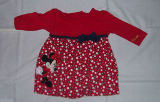 Girls M Co Disney Minnie Mouse Red Dress Flowers Navy Blue Bow 0 3 Months