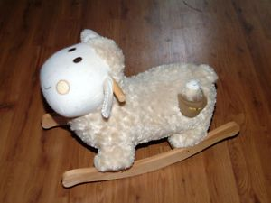 Rock Abye Stuffed Sheep Baby's First Rocking Horse Baby Plays Music Sturdy