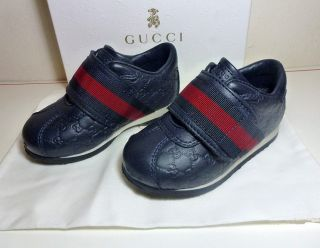 Gucci Infant Toddler Boys Leather GG Shoes 100 Authentic Euro 21 US 5