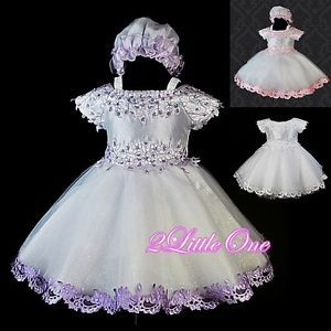 White Wedding Flower Girl Pageant Party Dress Sz 9M 3T