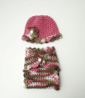 Newborn Baby Girls Pink Brown Green Crochet Knit Diaper Cover Hat Photo Prop Set