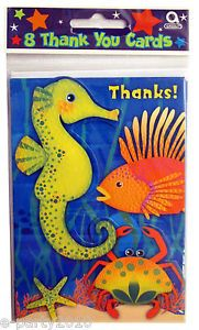 Underwater Marine Ocean Life Thank You Cards Deep Sea Birthday Party Supplies