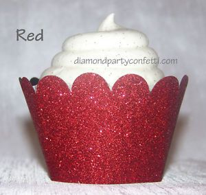 12 Red Glitter Cupcake Wrapper Wedding Christmas Valentine Decoration Favor