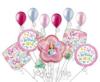 11pc Lot Barbie Garden Balloon Bouquet Decoration Happy Birthday Party Girl Doll