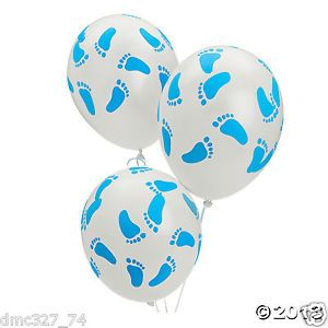 25 Baby Shower Decorations Latex Balloons Blue Boy Baby Footprint Feet 11 Inch