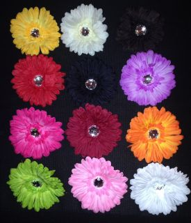 "12 4"" Spring Crystal Daisy Flower Head Clips Wholesale Lot Girls Headbands Hat"