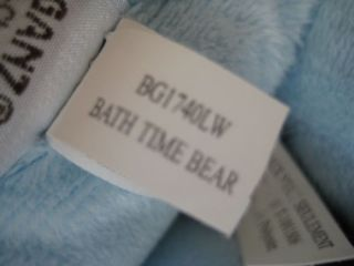 Baby Ganz Bath Time Bear Blue White Cross Blanket Plush Stuffed Tan Towel Teddy