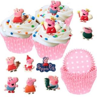 48 Peppa Pig Cupcake Favor Toppers 50 Baking Cups Party Set