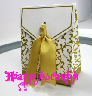 50pcs Gold Ribbon Wedding Party Favor Gift Box Box