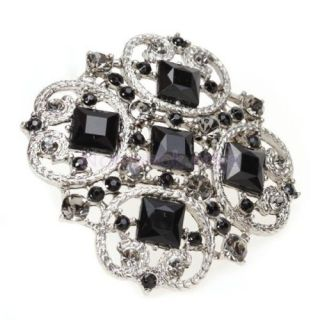 Vintage Lady Black Rhinestone Blooming Flower Brooch Pin Hat Clip Party Gift