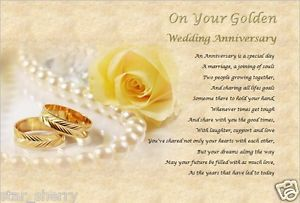 Golden Wedding Anniversary Personalised Poem Laminated Gift