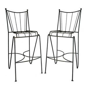 Pair Vtg Mid Century Modern Wrought Iron Atomic Age Hairpin Leg Bar Stools Chair
