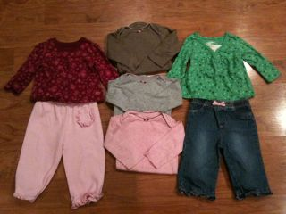 Lot of Infant Baby Girl Clothes Size 6 9 Months Carters Onepieces Shirts Pants