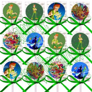 Disney Peter Pan Lollipops Candy Suckers with Green Bows Party Favors 12 Pcs