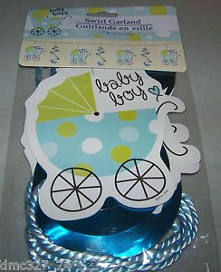 Baby Shower Decoration Baby Boy Carriage Hanging Swirl Garland New