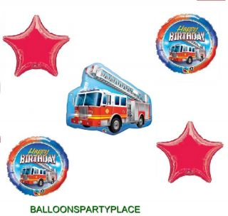5pc Happy Birthday Fire Truck Balloons Set Party Supplies Boys Fireman Engine XL