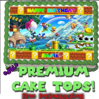 Wii U Super Mario Bros Birthday Cake 2 Topper Edible Picture Decoration Transfer