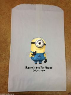 12 Personalized Despicable Me Minion Birthday Party Baby Shower Favor Bags