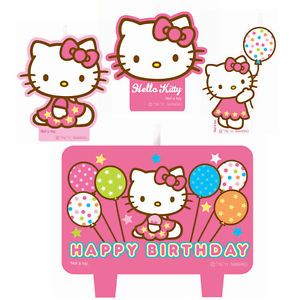 Hello Kitty 4 Piece Molded Cake Candle Set Party Supplies Decoration Birthday