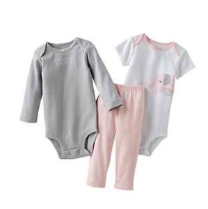 Carters Baby Girl Clothes Set Pink Gray Elephant 3 6 9 12 18 24 Months
