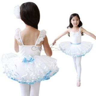 Girl Kid Belt Bow Layered Tutu Dress Leotard Dancewear Ballet Costume Sz 4 7