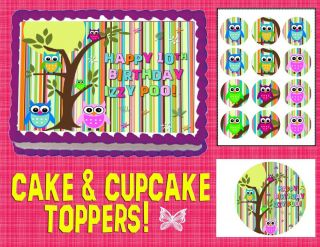 Owls Edible Cake Cupcakes Toppers Image Sheet Picture Sugar Tops Decorations