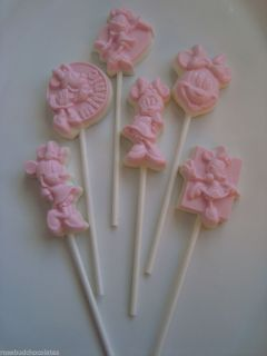 Set of 6 Minnie Mouse Chocolate Lollipops Pink Birthday Party Favors Girls Candy