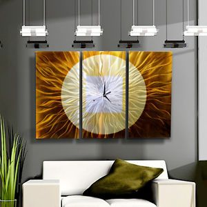 Metal Hand Painting Modern Abstract Wall Gold Silver Large Clock Artwork