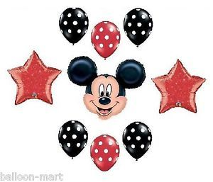 Disney Mickey Mouse Red Black Polka Dots Birthday Mylar Latex Balloons Supplies