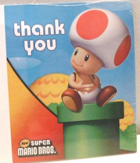 Super Mario Bros Thank You Cards w Baby Mushroom