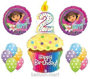 New 2nd Dora The Explorer Balloons Birthday Party Supplies Cupcake Candle Second