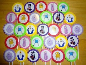 30 Adventure Time Inspired Cupcake Toppers Birthday Party Favors Supply