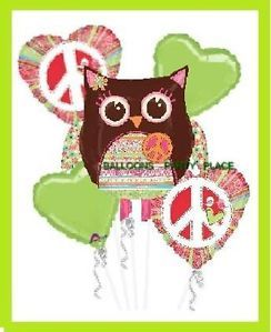 Hippie Owl Party Balloons Peace Sign Birthday Supply
