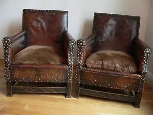 Antique French Pair Studded Cigar Leather Library Arts Crafts Club Chairs Spring
