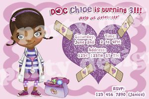 Doc McStuffins 10 Birthday Party Invitations Envelopes Personalized