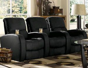 Seatcraft Catalina Home Theater Seating 3 Seats Black Manual Chairs