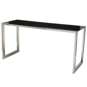 Nuevo Chic Modern Jet Stainless Steel Black Glass Top Desk Contemporary Style