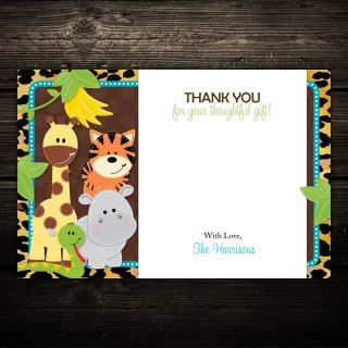 20 Leopard Jungle Safari Friends Baby Shower Flat Thank You Notes