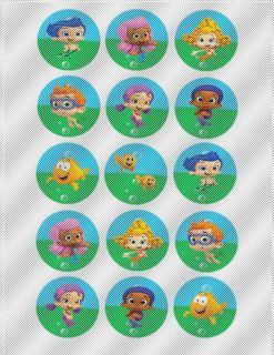 A318 Edible Image Birthday Decor Cake Cookie Cupcake Toppers Bubble Guppies Fish